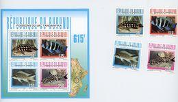 Burundi 1996-Poissons Du Lac Tanganyika-1082/85+B137***MNH - Fishes