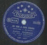 """78 Tours - ANDREW WALRENCE - POLYDOR 525032  """" UN SOIR A CUPA CABANA """" + """" LA FILLE AU PAREO """" - 78 Rpm - Gramophone Records"""