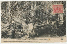 Guyane Française St Jean Du Maroni Chantier Forestier Bagne Bagnards Convicts Train Bois Voyagé - Prigione E Prigionieri