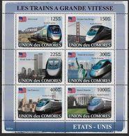 2008 Union Des Comores N°   Nf** MNH  Bloc Feuillet . Les Trains à Grande Vitesse ( TGV ). Etats Unis - Trains