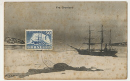 Fra Gronland Polar Expedition Arctic Maximum Card Edit Sk. B. And Kf . Eneret 1456 - Groenlandia