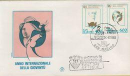 144089 BUSTA FDC FIRST DAY PRIMO GIORNO SAN MARINO ANNO INTERNAZIONALE DELLA GIOVENTU' - FDC