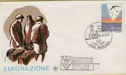 144090 BUSTA FDC FIRST DAY PRIMO GIORNO SAN MARINO EMIGRAZIONE - FDC
