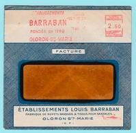 Fr20 EMA Etablissements Barraban = Bérets Basques Oloron-Ste-Marie  16.5.1947  TB - Marcophilie (Lettres)