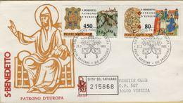 144106 BUSTA FDC FIRST DAY PRIMO GIORNO VATICANO SAN BENEDETTO PATRONO D' EUROPA - FDC