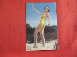 Pin-Ups  Linen Type Yellow Bathing Suit -Ref  2883 - Pin-Ups