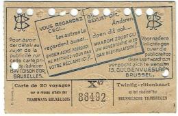 Carte De 20 Voyages Des Tramways Bruxellois. 1945. - Tram