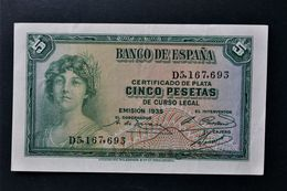 España . Spain . 5 Pesetas 1935 . Republica - [ 2] 1931-1936 : Republic