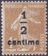 France N°  279 B ** Semeuse De Roty Fond Plein - 1 Ct Bistre Brun Surchargé - France
