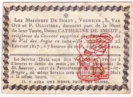 DB † 1817 EZ Catherine De Smedt - Klooster Engelendale Assebroek Brugge / Vermeire Van Oye Olliviers - Décès