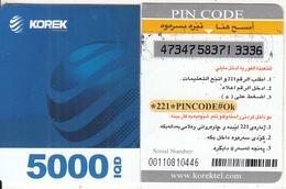 KURDISTAN(North IRAQ) - Korek Telecom Mini Prepaid Card 5000 IQD(left), Used - Télécartes