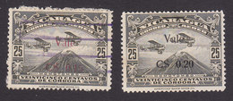 Nicaragua, Scott #C7-C8, Used/Mint Hinged, Airplane Over Mt Momotombo Surcharged, Issued 1930 - Nicaragua
