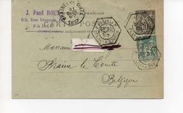 E P 30 12 1897 Paris Braine Le Comte - 1898-1900 Sage (Type III)