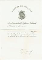 Royaume De Belgique. Brevet. Médaille De La  Résistance. - Documentos