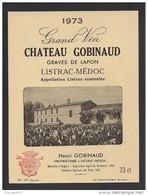 Etiquette De Vin  -  Chateau  Gobinaud   -  Listrac Médoc  -   1973 - Bordeaux