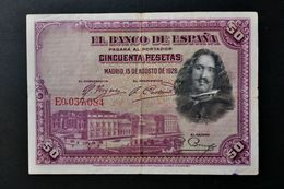 España . Spain . 50 Pesetas 1928 . Republica - [ 1] …-1931 : First Banknotes (Banco De España)