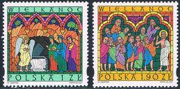 Pologne - Pâques (vitraux) 3653/3654 ** (année 2001) - Unused Stamps