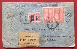 "URUGUAY BUSTA PAR AVION  VIA ""BRITISH SOUTH - AMERICAN AIRWAIS"" DA MONTEVIDEO A ROMA  L'1/3/47 - Uruguay"