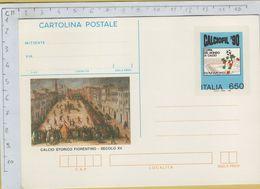 144161 Cartolina Postale Calcio Storico Fiorentino E Italia 90 - 1981-90: Storia Postale