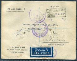 1945 Persia Iran Teheran Registered Airmail Censor Cover - Bradford Via Baghdad - Iran