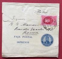 REPUBBLICA ARGENTINA FAJKA POSTAL IMPRESOS FASCETTA POSTALE DA RIO LA PLATA A ROMA 1908 - Argentina