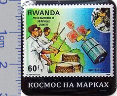 73-2 Pin. Satellite Jun 1979 Rwanda. Badges Series: Space On Stamps (30x30mm) - Space