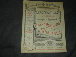 Publicités      Les Ciments Porlland De Valbonnais  Pelloux Et Pére Et Fils Grenoble - Publicités