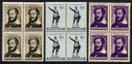 HUNGARY 1952 Kossuth Anniversary Blocks Of 4 MNH / **.  Michel 1265-67 - Hungary