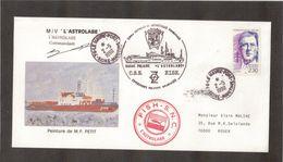 """9 - TAAF - Timbre France 2.5.1990 Le Havre - Cachets De L """"ASTROLABE""""- Signature DuCommandant- Retour De TERRE ADELIE. - Lettres & Documents"""