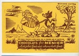 BUVARD  Marque  CHOCOLATS  Fins  MENIER, Fable  LE LOUP ET LE CHIEN - Collections, Lots & Séries