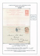 ZZ286 -- Entier Fine Barbe Double Avec REPONSE NEERPELT 1899 Vers MALMO Suède Via SASSNITZ-TRELLEBORG - Entiers Postaux