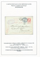 ZZ287 -- Entier Grosse Barbe REPONSE Utilisée à AACHEN Allemagne 1905 Vers Bruxelles - Entiers Postaux