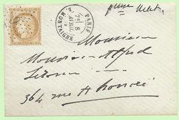Devant De Lettre (Fragment) - Avec Etoile 9 P16 Sur 15c Bistre N°55 + Cachet à Date Au Type 17 - PARIS  R. MONTAIGNE - Marcophilie (Lettres)