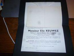 LDM2 Lettre De Mort Elie Keuwez Flamand Gozée 1943 Anc Directeur Sucrerie Donstiennes - Overlijden