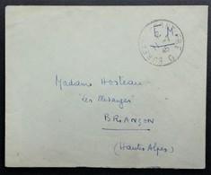 Petite Env Oblitération BUREAU FRONTIERE G Juillet 1945 D'un Lieutenant De Vaisseau DNMMAA Baden-Baden > Briançon - Postmark Collection (Covers)