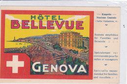 CARD GENOVA HOTEL BELLEVUE CON RIPRODOTTA ETICHETTA PER VALIGIA     -FP-N-2-0882- 27950 - Genova (Genoa)