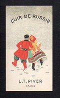 Carte Parfumée Publicitaire / Cuir De Russie De L.T. Piver Paris / Verso A. Bazin Coiffeur Parfumeur à Bois Arnault (27) - Antiguas (hasta 1960)