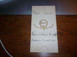 Menu Mariage 1922 Donstiennes - Menus