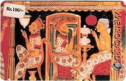 SRIMETRO : MET026A 100 Temple Mural 1 (rev. Black) Front With Sticker +rev With  Sticker USED - Sri Lanka (Ceylon)