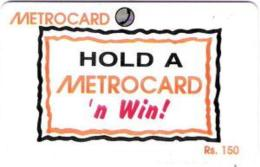 SRIMETRO : MET032A 150 Hold A Metrocard 'n Win (+ Win Sticker) USED - Sri Lanka (Ceylon)