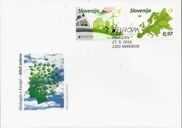 "ESLOVENIA /SLOVENIA / SLOWENIEN - EUROPA 2016 -TEMA ""ECOLOGIA -EL PENSAMIENTO VERDE -THINK GREEN"".- FDC De La SERIE 2 V. - Europa-CEPT"