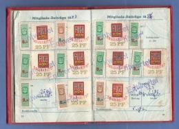 Mitgliedsbuch Der FDGB Mit Vielen Beitragsmarken, 47 Seiten - Historische Dokumente