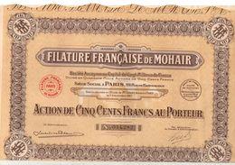 Action De 500 Francs Au Porteur N°034282 Pétrole Filature Française De Mohair De 1927 - Shareholdings