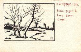 """07313 """"1 GENNAIO 1914 . FELICI AUGURI DI BUON ANNO"""" DISEGNO ORIGINALE. CART. ORIG. NON SPED. - New Year"""