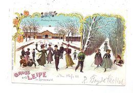 0-7543 LÜBBENAU - LEIPE, Winterlitho Buchan's Gasthaus, Schlittschuhlaufen, 1901, Ränder Teils Beschnitten - Luebbenau