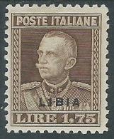 1928-29 LIBIA EFFIGIE 1,75 LIRE MH * - I44-5 - Libya