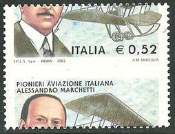 2003 - REPUBBLICA - PIONIERI - MARCHETTI - 0,52 EURO - VARIETA' - MNH -  SIGNED - LUSSO - EURO 150,00 - 6. 1946-.. Repubblica
