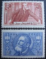 Lot FD/1141 - 1936 - J. JAURES - N°318 à 319 NEUFS** - Cote : 48,50 € - Frankreich