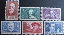 Lot FD/1144 - 1938 - AU PROFIT DES CHÔMEURS INTELLECTUELS - N°380 à 385 NEUFS** - Cote : 90,00 € - France