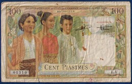 Banknote-Rare FRENCH Indo-china-P-108 100 Piastres 1954- Multi-color Yellow Small Tear Redish Paint Stains Low Price - Banknotes
